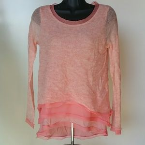 Anthropologie Knitted and Knotted Peach Sweater